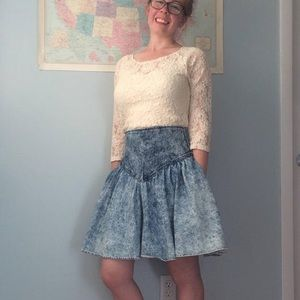 High Waisted Jean Skirt Vintage Acid Wash